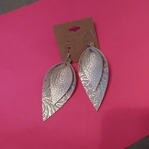 Beautiful gold leather earrings